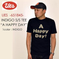 "UES ウエス、""651845""、A HAPPY DAY インディゴ Tシャツ [S/STee]"