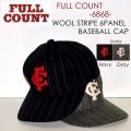 "FULLCOUNT フルカウント、""6868""、WOOL STRIPE 6PANEL CAP、6パネルウールストライプベースボールキャップ [小物][帽子]"