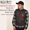 """BROWN'S BEACH ブラウンズビーチ、FULLCOUNT フルカウント、""""BBJ8-001""""、ブラウンズビートアーリーベスト [アウター]"""