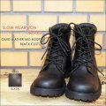 "Slow Wear Lion(スローウェアライオン)、""OB-8593BLR""、オイルドレザーMIDブーツ BLACK CUSTOM [靴]"