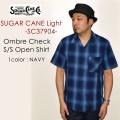 """SUGAR CANE Light シュガーケーンライト、""""SC37904""""、オンブレーチェックS/Sオープンシャツ [S/Sシャツ]"""