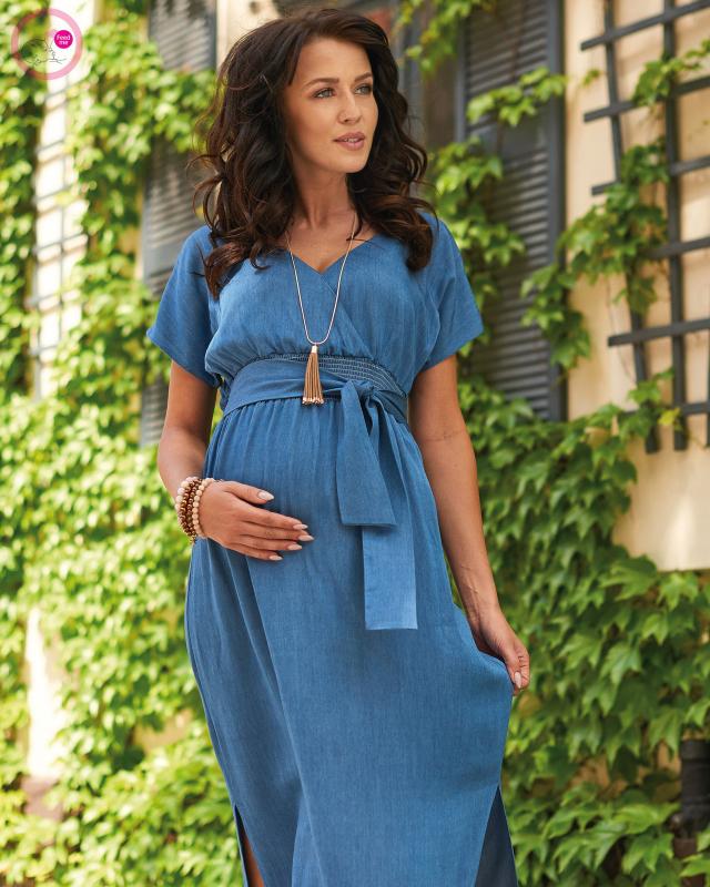 【残り2】ナインファッション マタニティマキシワンピース POULETTA インディゴ セール