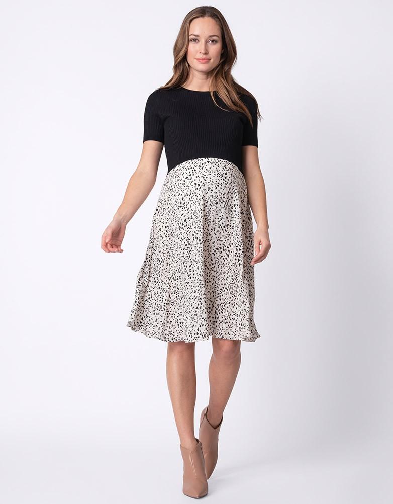 セラフィン マタニティ・授乳ワンピース POLLYANNA ブラック プリントスカート