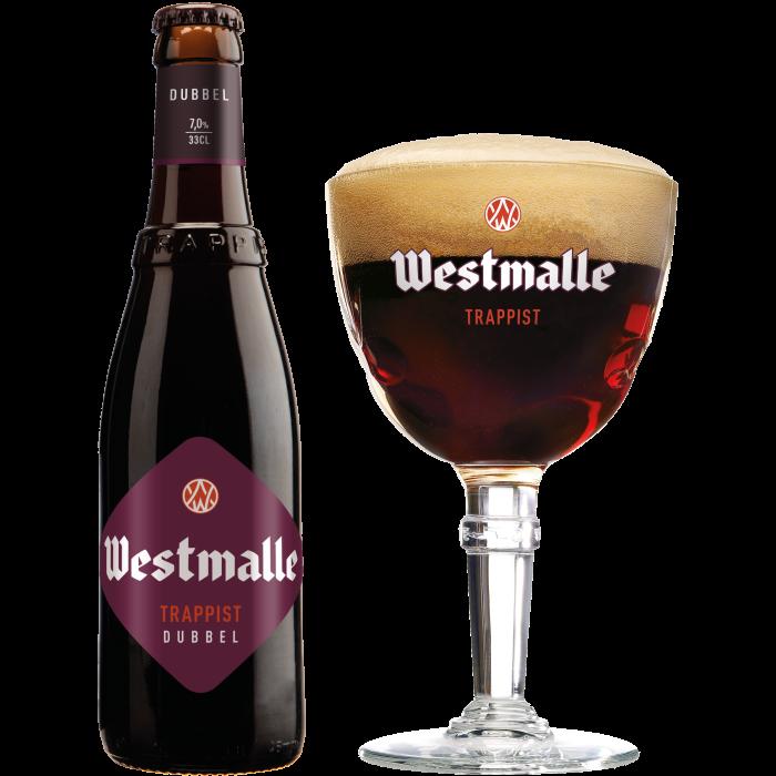 ウェストマール・ダブル瓶330ml_ボトル+グラス