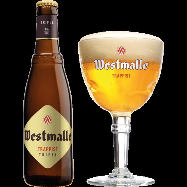 ウェストマール・トリプル瓶330ml_ボトル+グラス