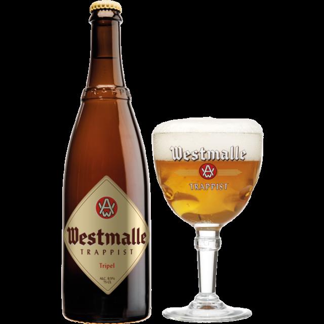ウェストマール・トリプル瓶750ml_ボトル+グラス