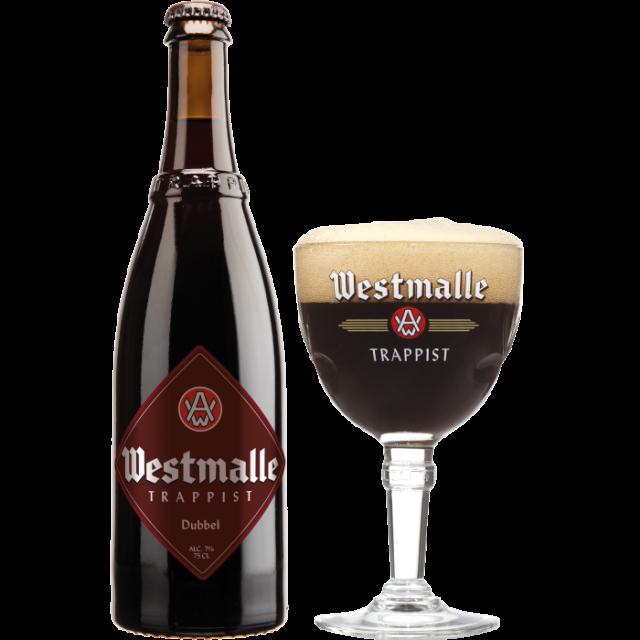 ウェストマール・ダブル瓶750ml_ボトル+グラス