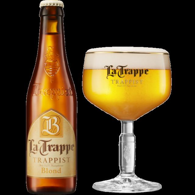 ラ・トラップ・ブロンド瓶330ml_ボトル+グラス