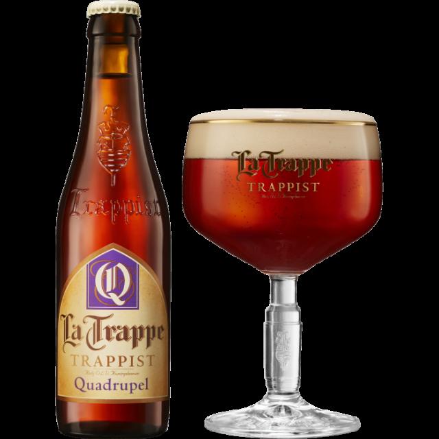 ラ・トラップ・クアドルペル瓶330ml_ボトル+グラス