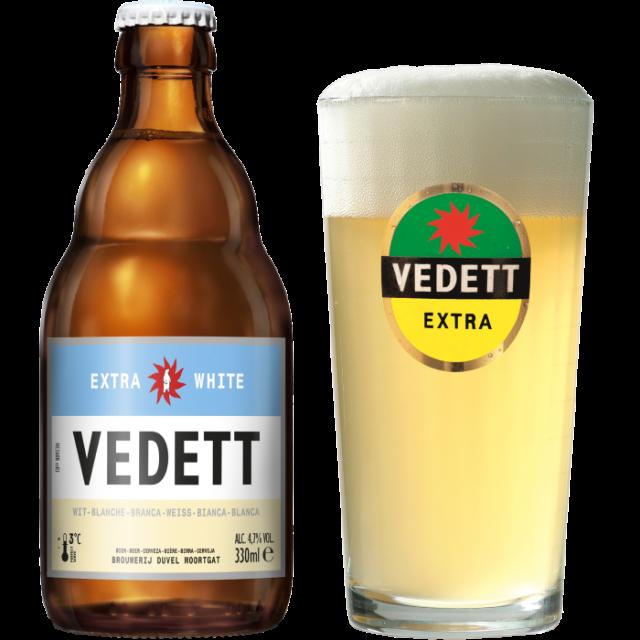 ヴェデット・エクストラ・ホワイト瓶330ml_ボトル+グラス