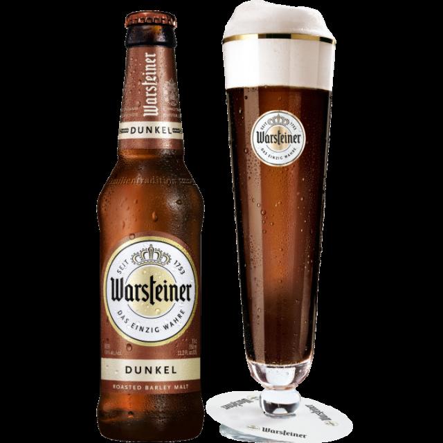 ヴァルシュタイナー・ドゥンケル瓶330ml_ボトル+グラス