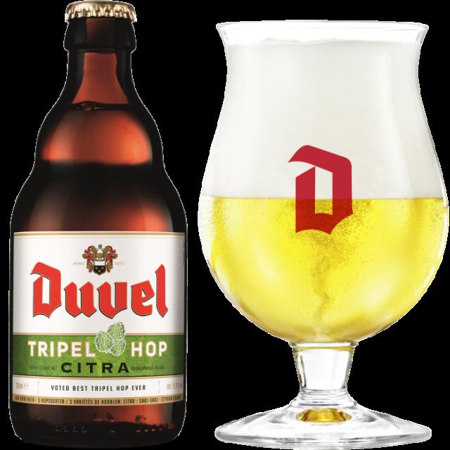 デュベル・トリプルホップ瓶330ml_ボトル+グラス