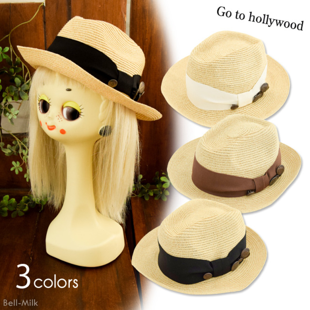 ft-19SS-1492007 GTH(ゴートゥーハリウッド) リボン ストロー HAT 【Go to Hollywood】【19SS】