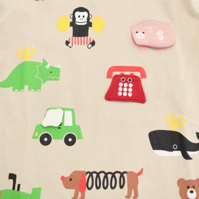 br-21sp-410203 CHEEK ROOM めくってみよう!動物おもちゃロングTシャツ【チークルーム】【知育服】【21年春物】