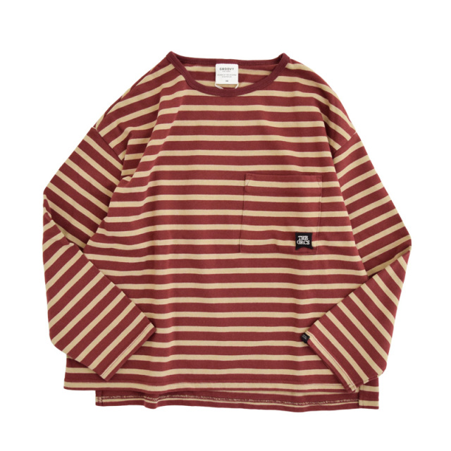 ft-20aw-1608450_5 テンジクボーダー POCKET ワイド L/S TEE [5.レッド] GROOVY COLORS 【20AW】