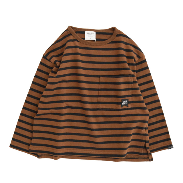 ft-20aw-1608450_7 テンジクボーダー POCKET ワイド L/S TEE [7.ブラウン] GROOVY COLORS 【20AW】