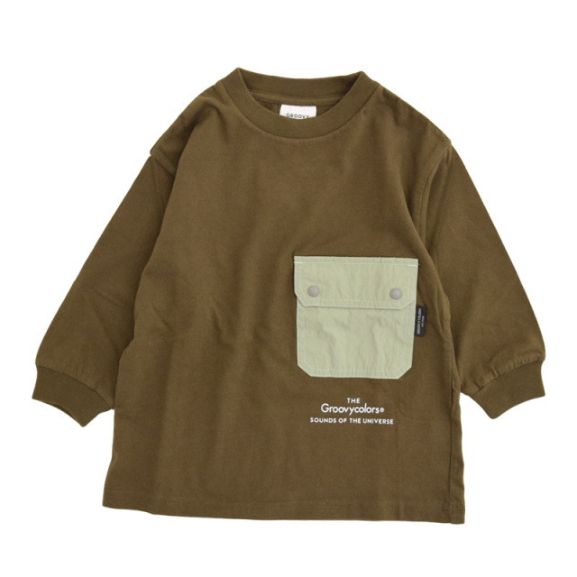 ft-20aw-1608452_9 テンジク L/S POCKET BIG TEE [9.カーキ] GROOVY COLORS 【20AW】