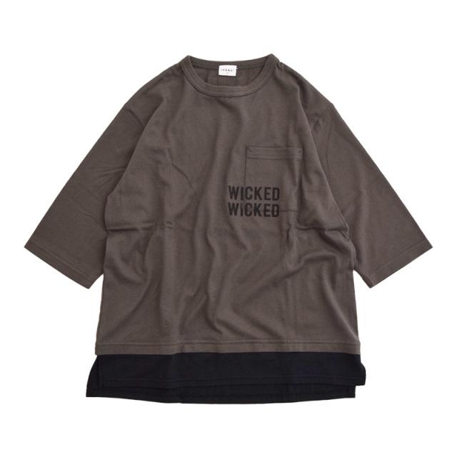br-21aw-310266_CG WICKED ビッグレイヤード7分袖Tシャツ [CG.チャコールグレー] 【Jeans-b】【21年秋冬】