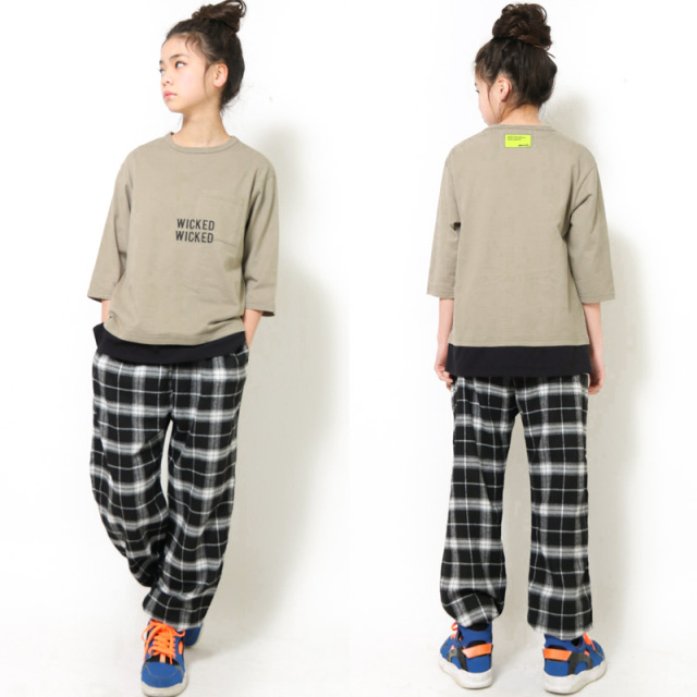 br-21aw-310266_KH WICKED ビッグレイヤード7分袖Tシャツ [KH.カーキ] 【Jeans-b】【21年秋冬】
