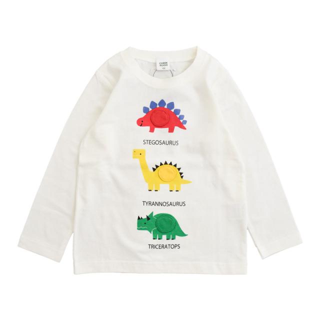 br-21aw-410266_OW 恐竜 じゃんけん ロングTシャツ [OW.オフホワイト] 【CHEEK ROOM】【知育服】【21年秋冬】