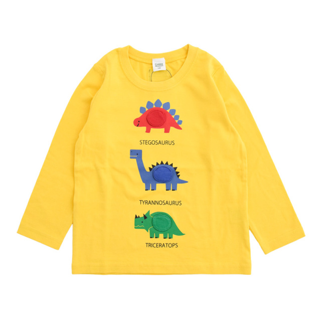 br-21aw-410266_YE 恐竜 じゃんけん ロングTシャツ [YE.イエロー] 【CHEEK ROOM】【知育服】【21年秋冬】