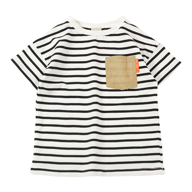 dil-DL20ES020_BK 先染めボーダー天竺 半袖Tシャツ [BK.ブラック] 【DILASH】【夏物】