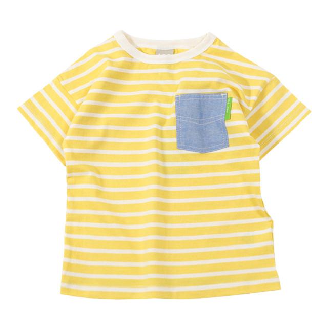 dil-DL20ES020_YE 先染めボーダー天竺 半袖Tシャツ [YE.イエロー] 【DILASH】【夏物】