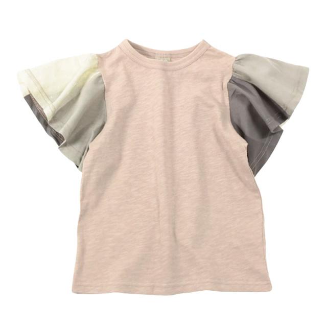 dil-DL20ES034_BE 切り替えフレアスリーブ 半袖Tシャツ [BE.ベージュ] 【DILASH】【夏物】