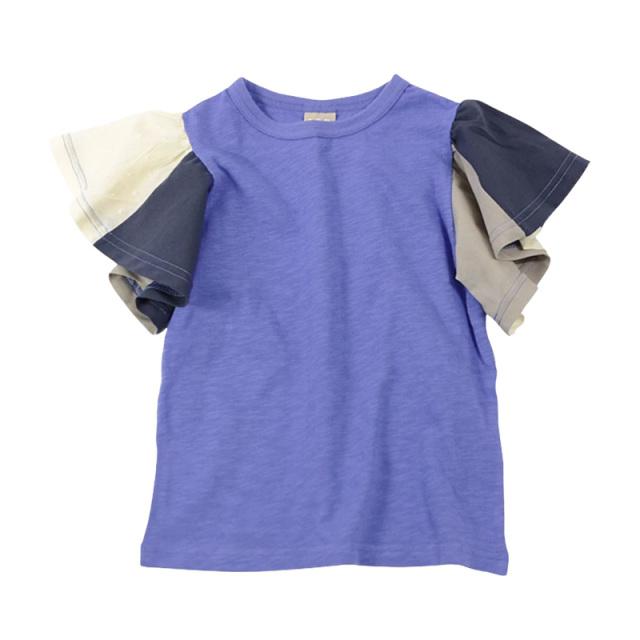 dil-DL20ES034_BU 切り替えフレアスリーブ 半袖Tシャツ [BU.ブルー] 【DILASH】【夏物】