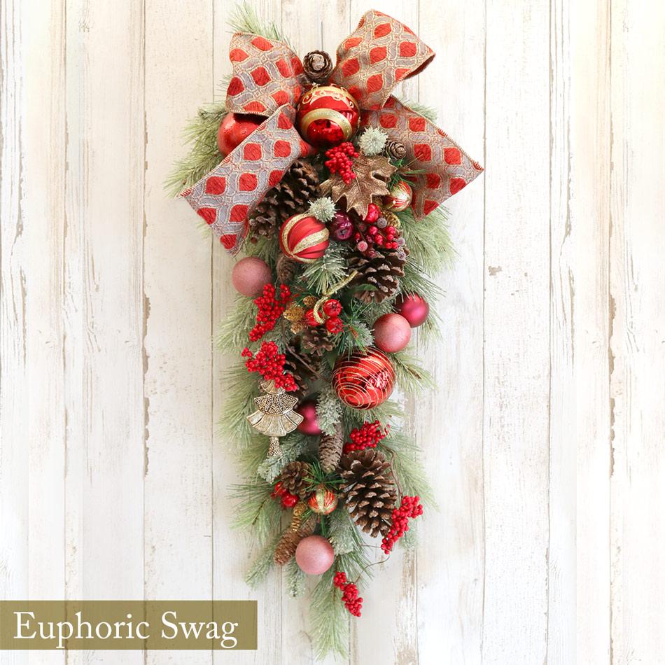 【即日発送】SALE セール価格 2020 クリスマスリース #ユーフォリックスワッグ X'mas ドライ 造花