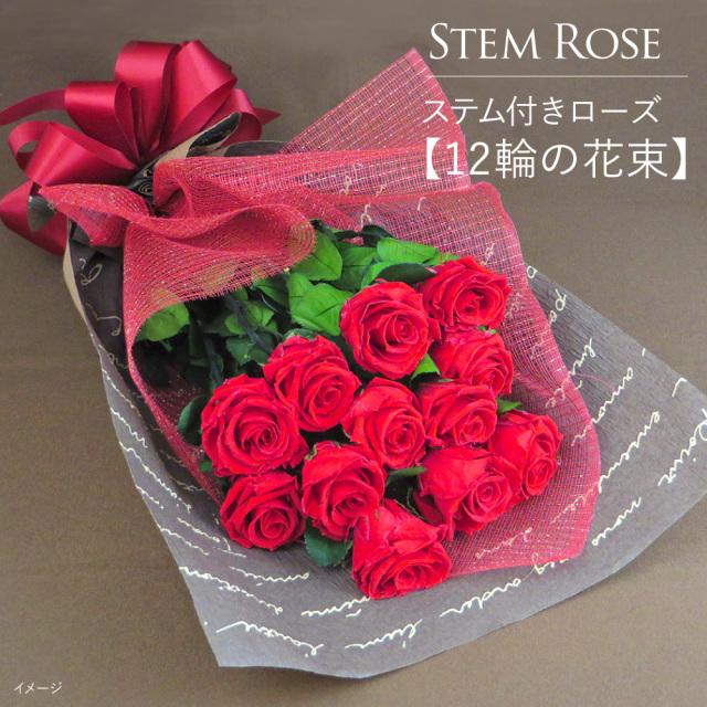 【即日発送】プリザーブドフラワー #ステム付きローズ【12輪の花束】「なでしこJAPAN」にカズが贈ったバラ | ダーズンローズ