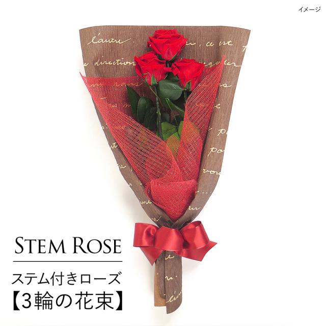 【即日発送】プリザーブドフラワー #ステム付きローズ【3輪の花束】「なでしこJAPAN」にカズが贈ったバラ