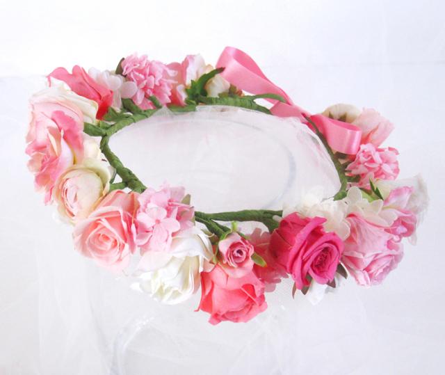プリザーブドフラワー バラの花冠 #ピンク×ホワイト ◆oth 送料無料 【出荷:7〜10営業日】
