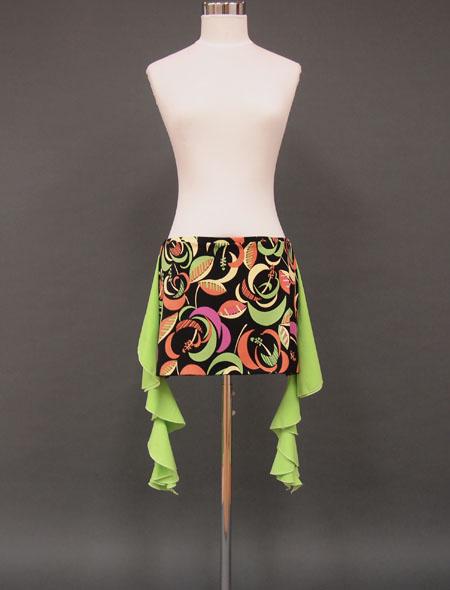【Lサイズ】グリーンのフリルがアクセント☆黒×パステルカラーが可愛い!色鮮やかな配色とデザイン♪レッスンが楽しくなること間違い無し!コインなしヒップスカーフ【ベリーダンス衣装/レッスン着】