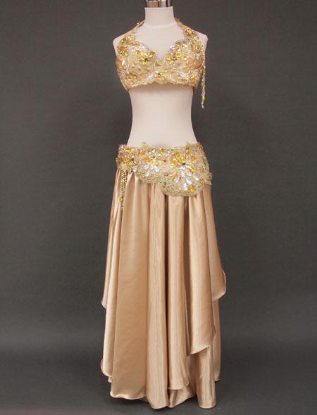 【ベリーダンス衣装】ゴージャスなゴールド!可愛らしさもあるエレガントで華やかなオリエンタル・コスチューム