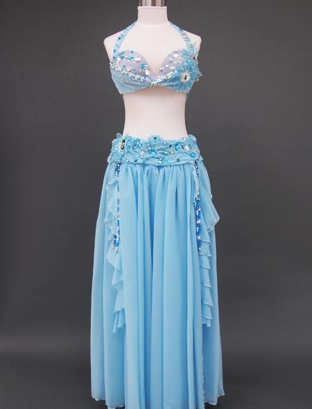 ブルー花のベリーダンス衣装 ミラーナ