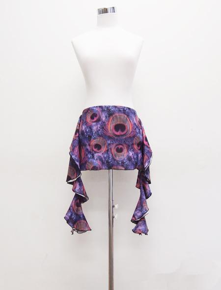 パープルクジャク柄ヒップスカーフ1 MiLLANAベリーダンス衣装