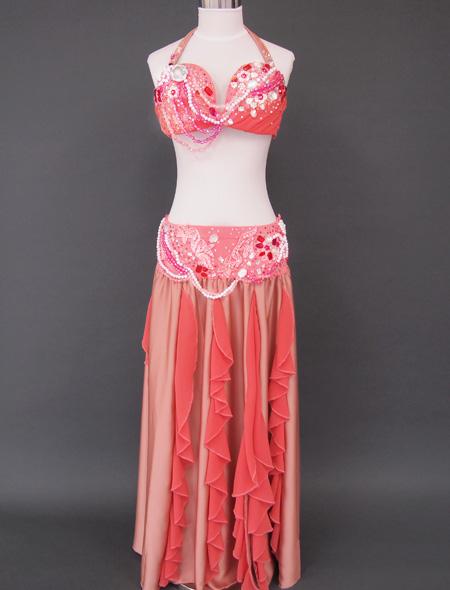 シャンパーニュピンク衣装1 ミラーナベリーダンス衣装