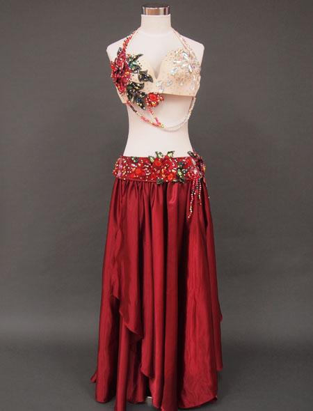 赤ローズベリーダンス衣装1 ミラーナ