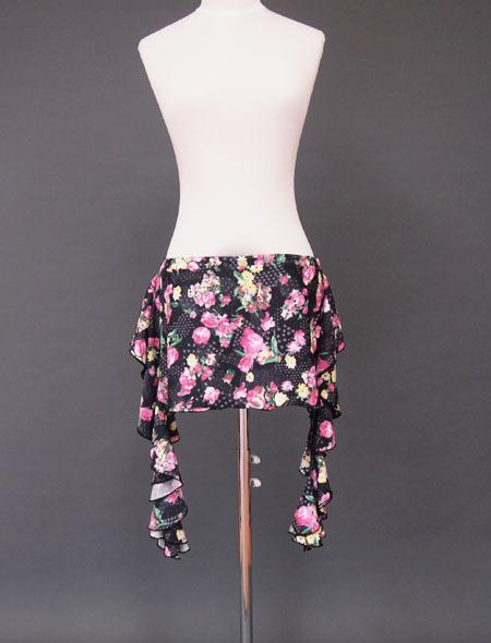 【LLサイズ】黒ベースの生地にピンクの花柄が美しい!サイドのフリルも可愛い!ベリーダンスコインなしヒップスカーフ【ベリーダンス衣装/レッスン着】