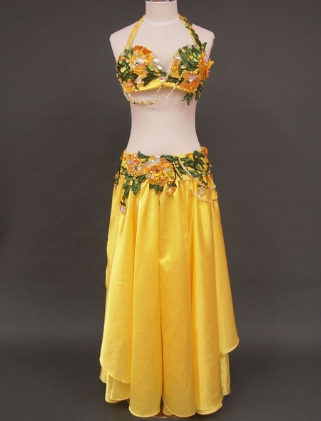 【ベリーダンス衣装】明るいイエローで華やかさ抜群!鮮やかな黄色に装飾が映える!エレガントでゴージャスなオリエンタル・コスチューム