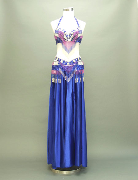 濃いブルーが綺麗!格安ベリーダンス衣装 ミラーナ