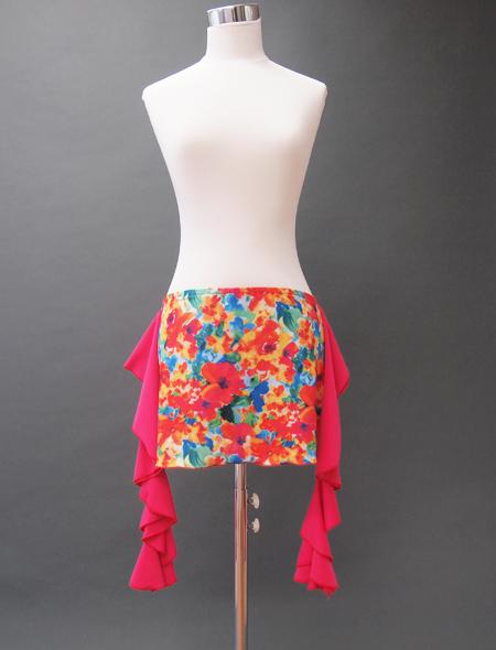 オレンジ花ヒップスカーフ ミラーナベリーダンス衣装