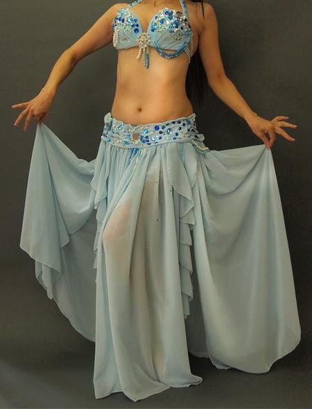 薄いブルーのベリーダンス衣装1 ミラーナ