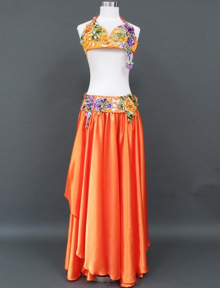 【ベリーダンス衣装】鮮やかなオレンジ☆フレッシュでイキイキとしたオリエンタル・コスチューム