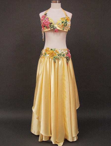 【ベリーダンス衣装】可愛らしいパステルイエロー!薔薇に包まれた様な気分になれるエレガントで可愛らしいオリエンタル・コスチューム