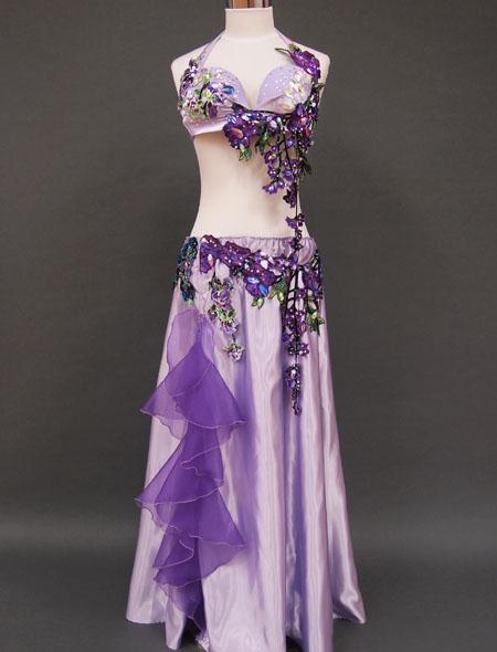 【ベリーダンス衣装】大人可愛いパープル!薄紫&可憐なデザインでエレガントさを演出!踊りやすさ抜群のオリエンタル・コスチューム
