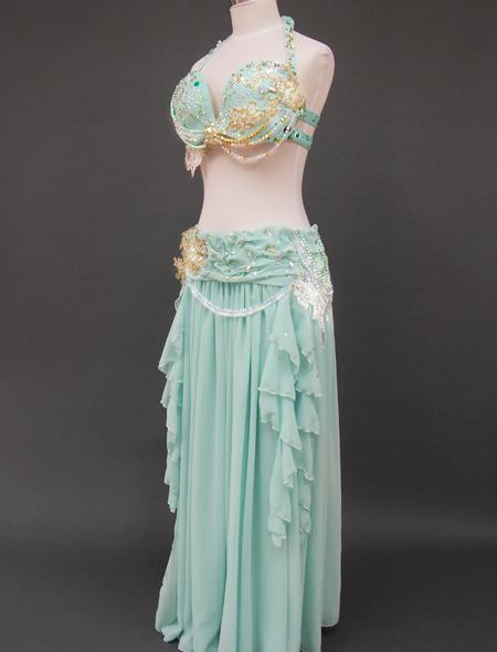 ミントグリーン衣装4 ミラーナベリーダンス衣装