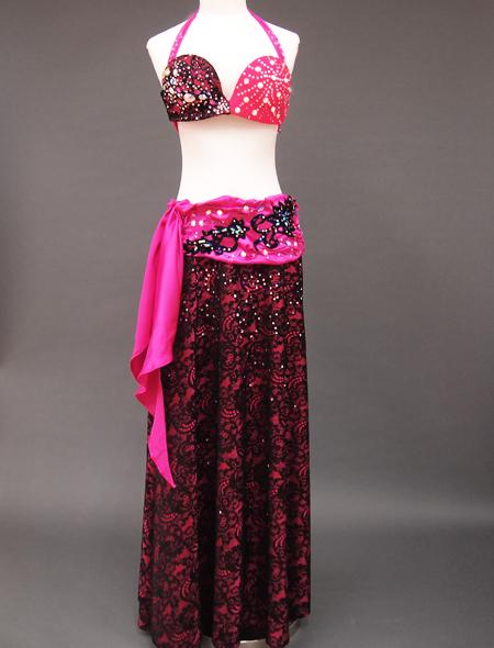 ピンク黒衣装 ミラーナベリーダンス衣装