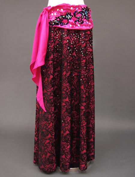 ピンク黒衣装 3ミラーナベリーダンス衣装